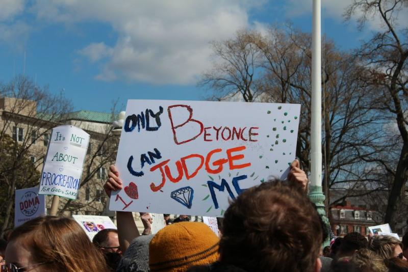 From the rally outside the Supreme Court.