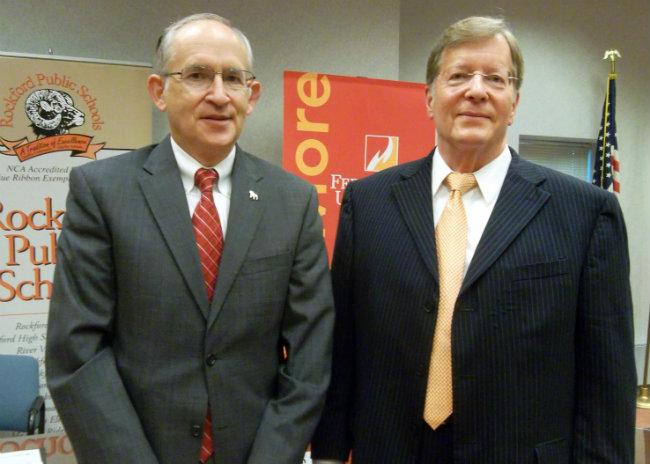 FSU President David Eisler (right) and Rockford Schools Superintendent Michael Shibler