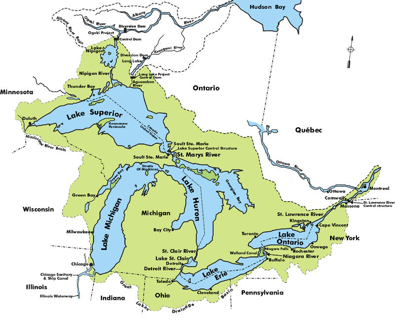 A map of the Great Lakes and St. Lawrence River