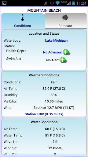 The myBeachCast app shows weather and water conditions, and whether there are any safety or water quality alerts.