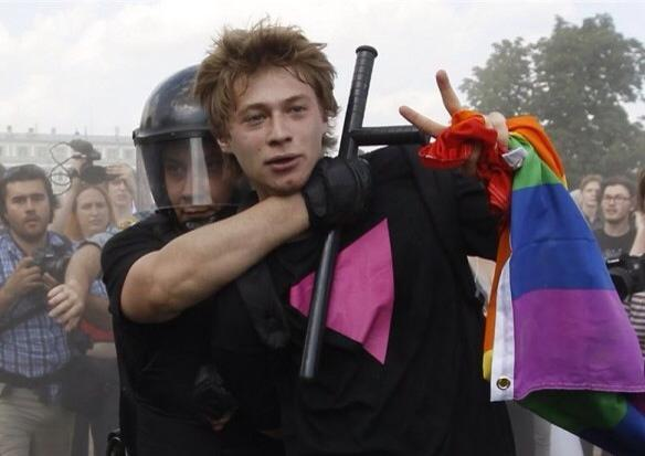 A protester is arrested during an LGBT rally in St. Petersburg, Russia on June 29, 2013.