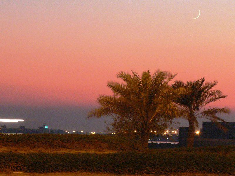 A crecent moon over palm trees at sunset in Manama, Bahrain in 2006. It marked the beginning of the Muslim month of Ramadan for that year.