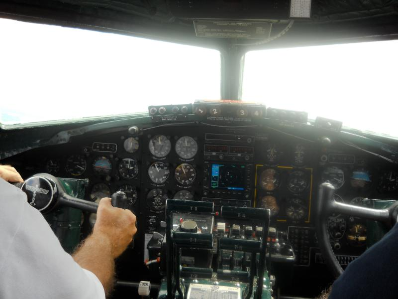 Inside the pilot's nose on the Yankee Lady during flight.
