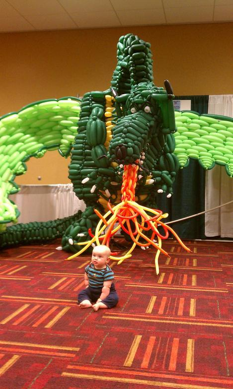 Tim constructed this giant balloon sculpted dragon for the Indiana-based convention, Gen Con