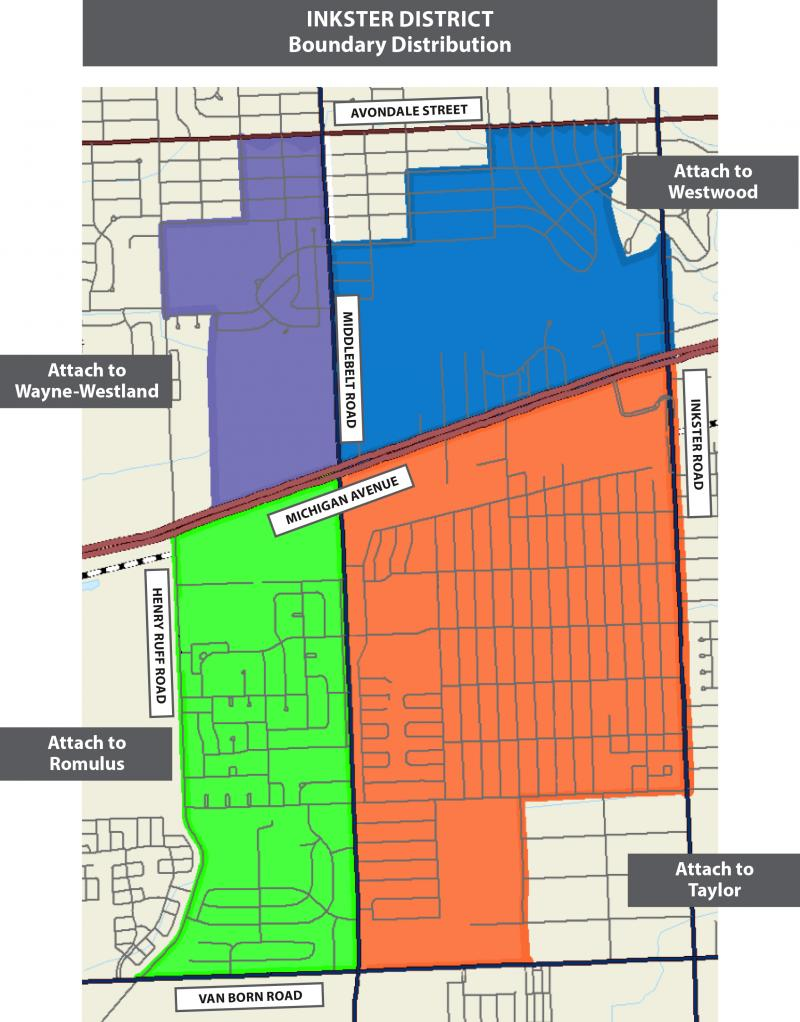 New school district boundaries, to absorb Inkster