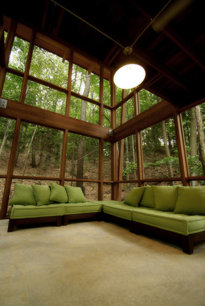 Trees shade the project in the summer and let in sun during the winter months. A natural way to save energy