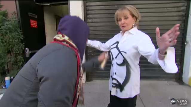 A screenshot of David Choe as he graffiti's Barbara Walters during her interview with him in 2012.