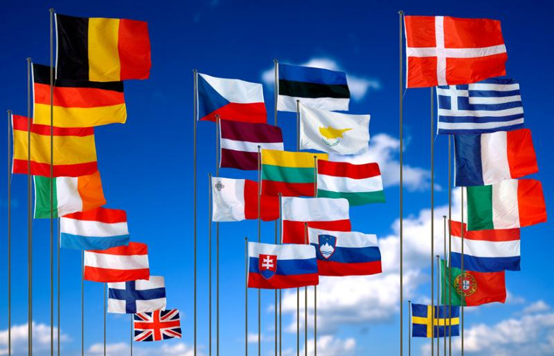 The flags of most of the European Union countries