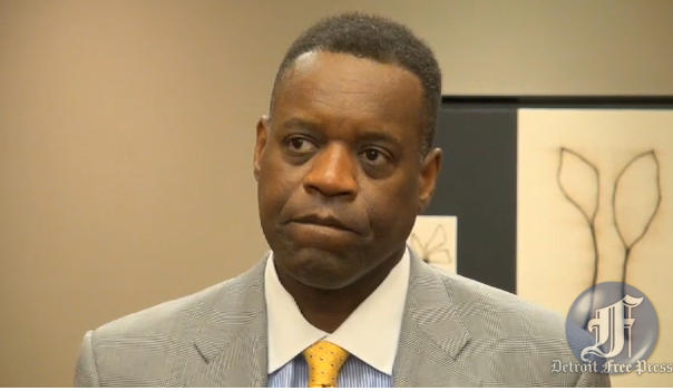 Kevyn Orr talking with the press after a meeting with Detroit creditors.