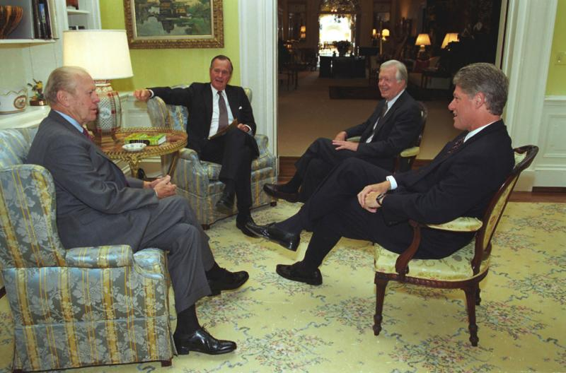 Three former presidents (Gerald R. Ford, George H.W. Bush, and Jimmy Carter) join President Bill Clinton in the White House. A North American Free Trade Agreement (NAFTA) Breakfast Meeting, September 14, 1993.