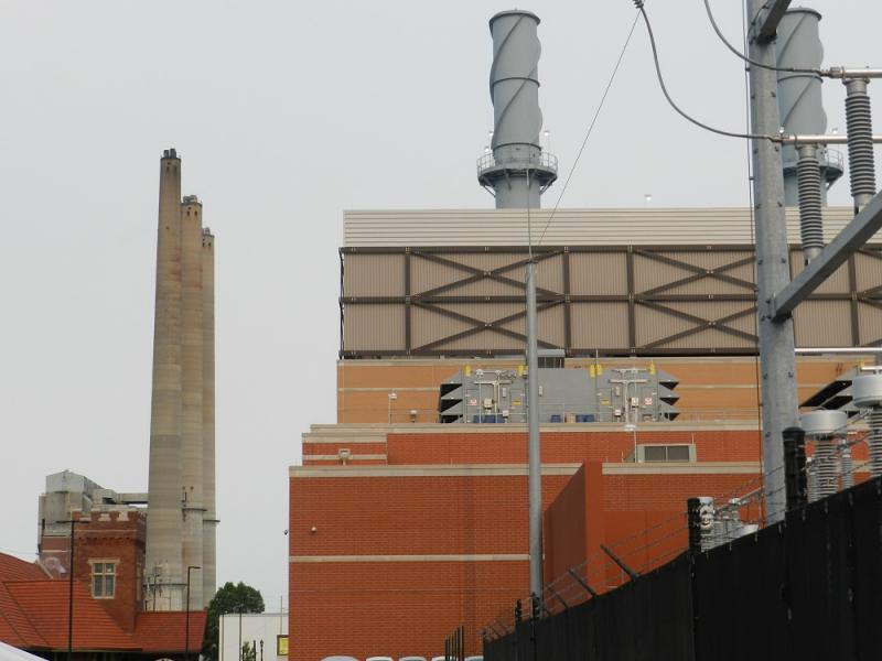 BWL's new Reo Town co-generation plant (the building on the right) will greatly reduce the workload at the electricity and steam plants (the 3 smokestacks to the left)