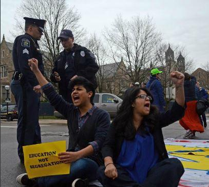 University of Michigan students protesting for in-state tuition prices for undocumented students.