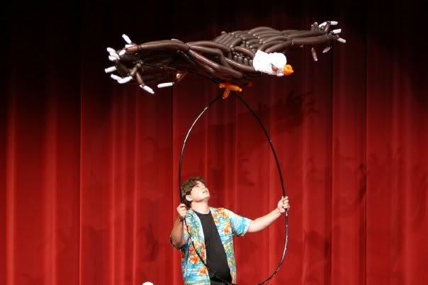 Tim created this flying eagle sculpture in less than 24 hours