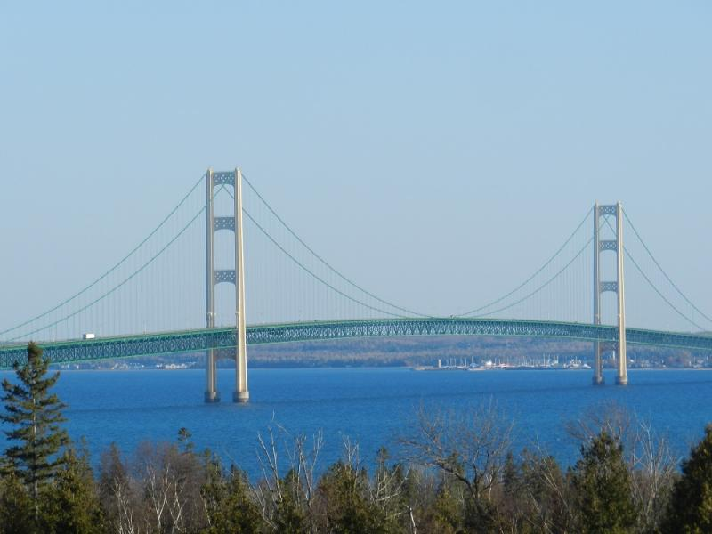 The view of the Mackinac Bridge from St. Ignace