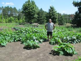 Bryan Black on his small farm in Benzie County.