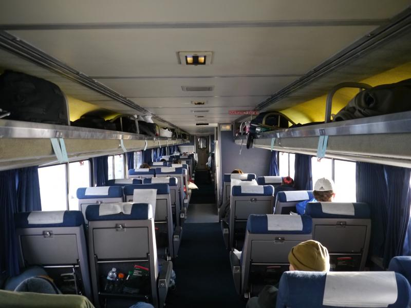 Inside an Amtrak train.