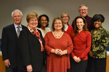 The 2013 Ann Arbor Board of Education, with former superintendent Patricia Green. Green retired this April.