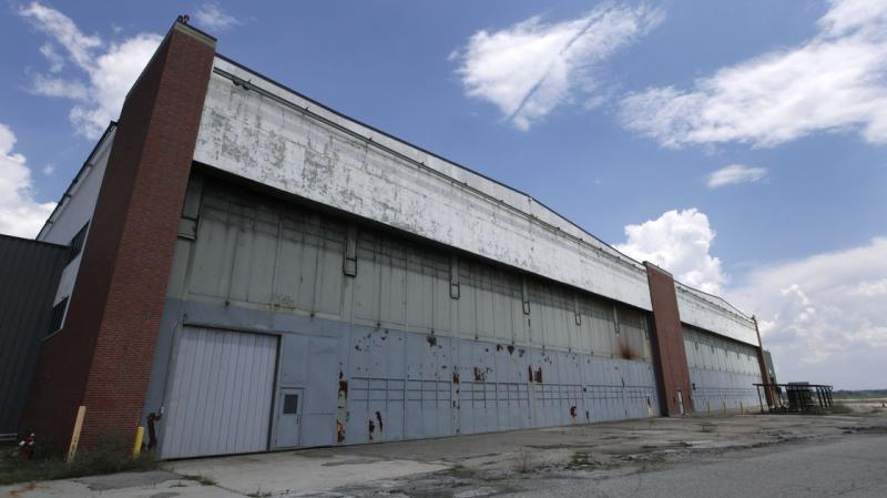 Two of the massive hangar doors on the former B-24 bomber plant, designed large enough to accommodate the completed bombers as they rolled out of the plant.