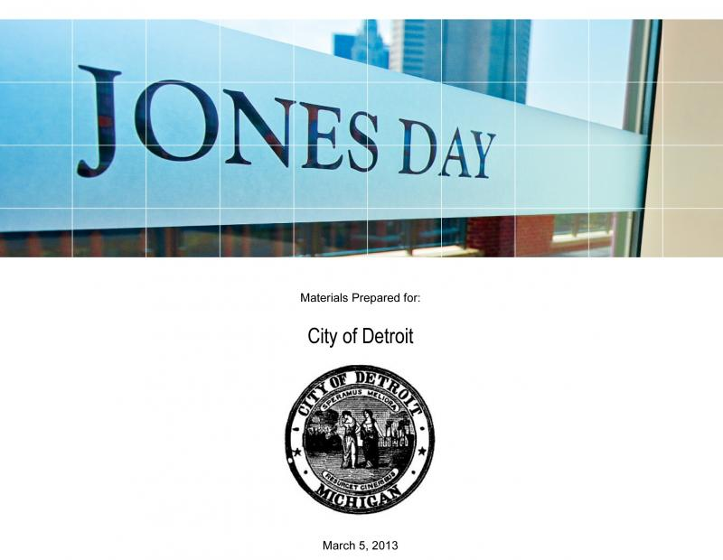 From the cover of the Jones Day proposal to be the city's 'restructuring counsel.'