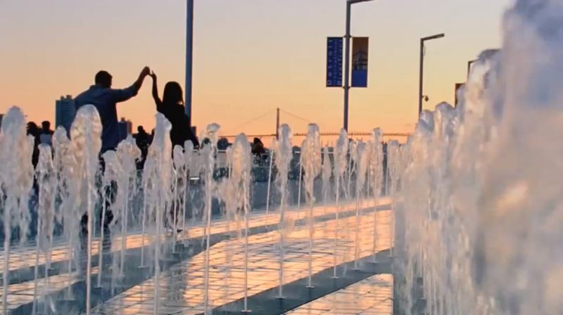 A screen grab of fountains in Detroit