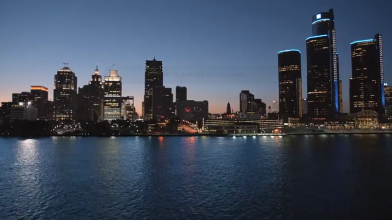 A screen grab of the Detroit skyline