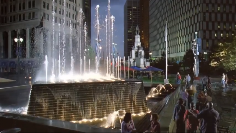 Screenshot of fountains in Detroit