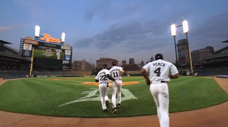 We're not sure if these guys are actual players for the Tigers, but they're running out on the field in this screen shot