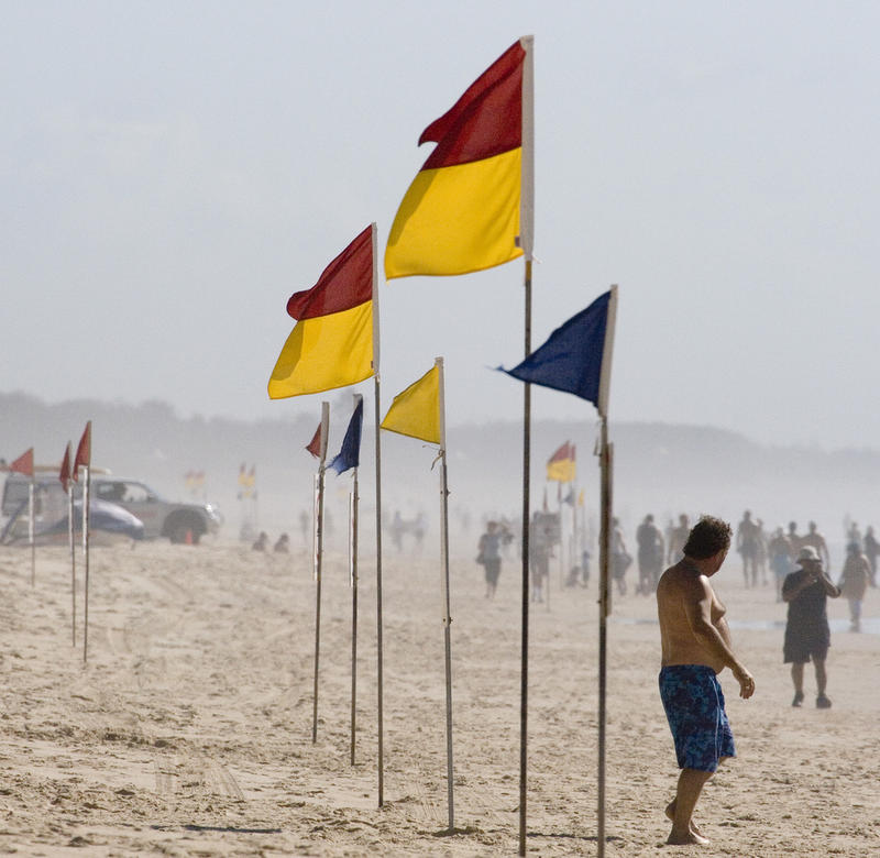 Could beach flags help in Michigan? (Warning flags on Paradise Beach.) Some residents are calling for yard signs to warn visitors.