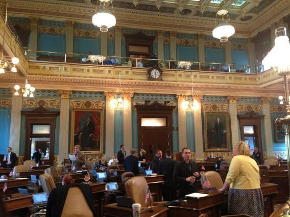 Loud demonstrators were removed from the gallery before the medicaid expansion debate today.