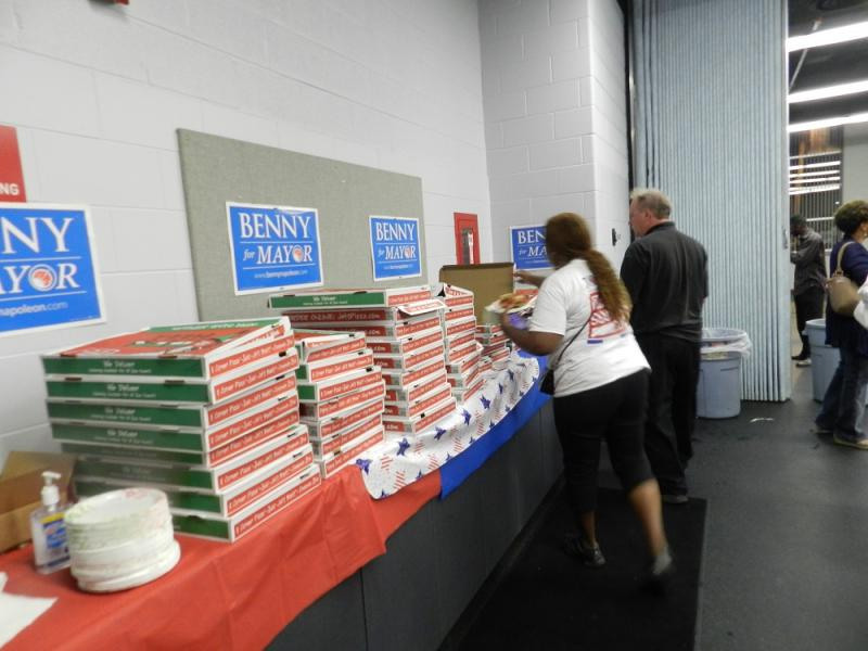 Lots of pizza available at the Benny Napoleon party in Detroit. Those waiting for results from the Detroit mayoral primary could be in for a long night.