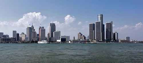 The Detroit skyline is best viewed from its southern neighbor across the Detroit River.