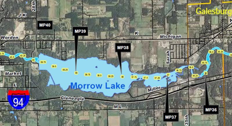 Dredging work needs to be done between mile posts (MP) 36 and 39 as tagged on this MDEQ map.