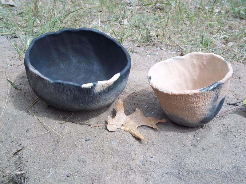 Pots made with clay from the Au Sable River