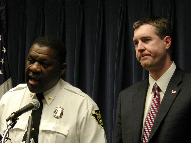 Outing Flint Public Safety Director Alvern Lock (left) speaks at a news conference with Flint Mayor Dayne Walling (file photo)