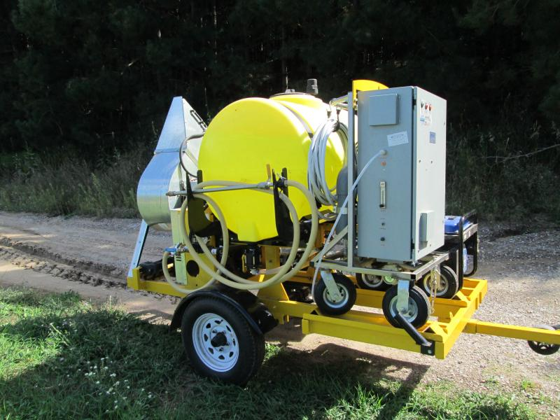 "The ""ozonator"" mounted on a trailer for spraying the vineyard."