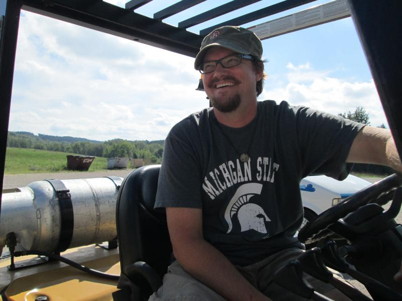 Jay Briggs, manager at 45 North Winery near Lake Leelanau. He's experimenting with ozonated water to control pests.