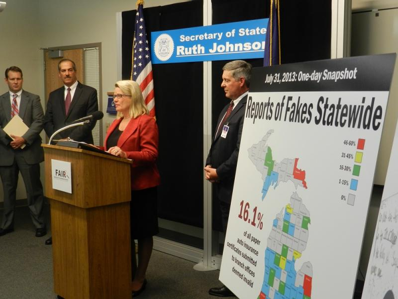Secretary of State Ruth Johnson announced the state's crackdown on phony auto insurance