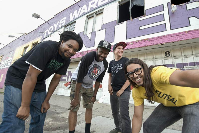 "The Detroit artist collective known as 'Complex Movements.' (LtoR) Wesley Taylor, Waajeed, Invincible, and Carlos ""L05"" Garcia."
