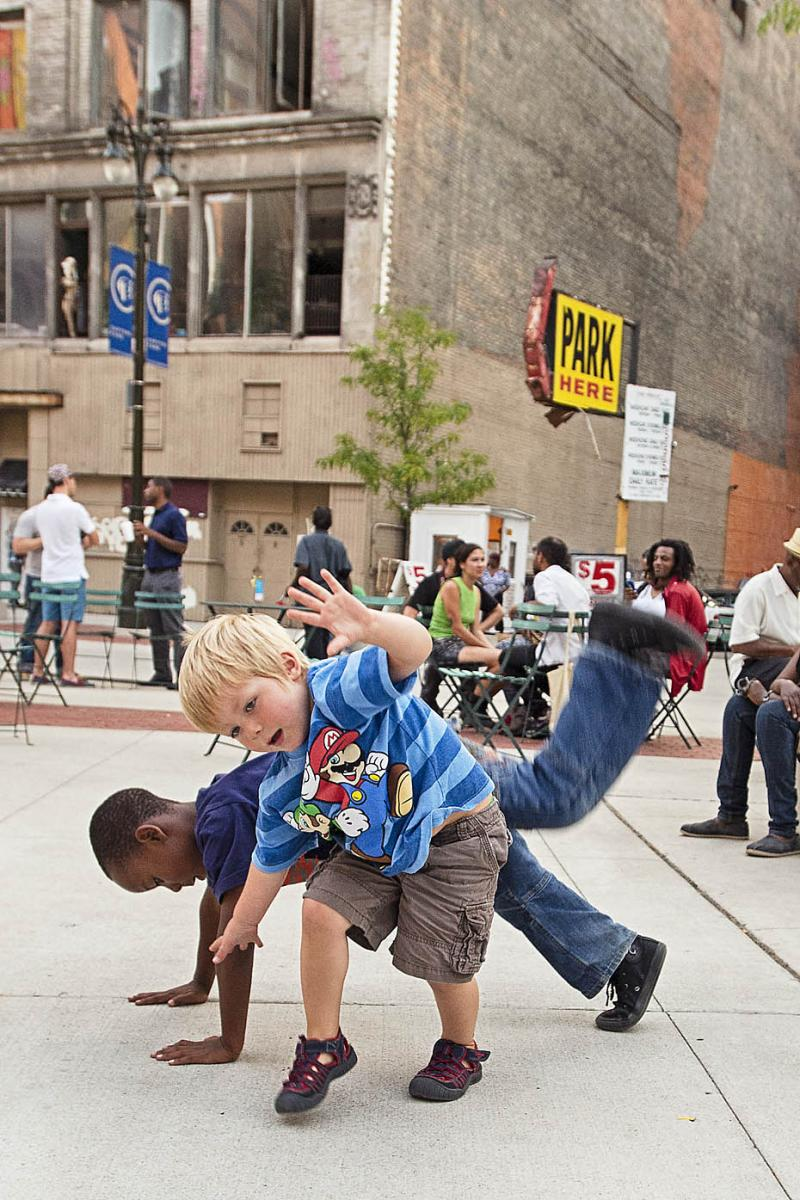 Kids breakdance at the 'Doing it in the Park' event.