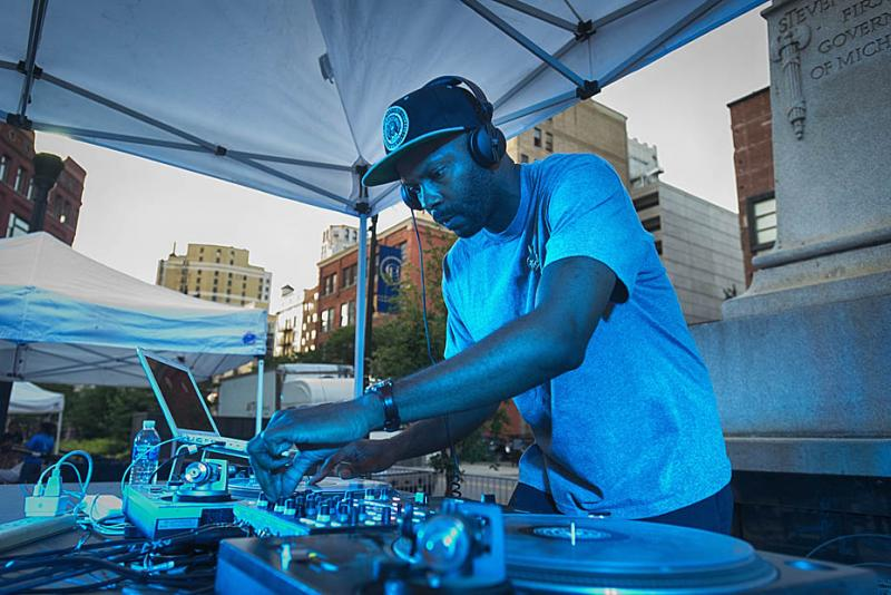 Waajeed spins records at the event.