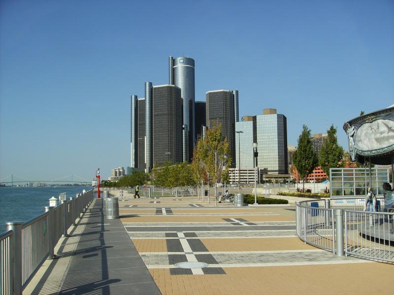 Detroit's riverfront walkway.