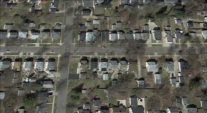 Aerial view of homes in Jackson, Michigan