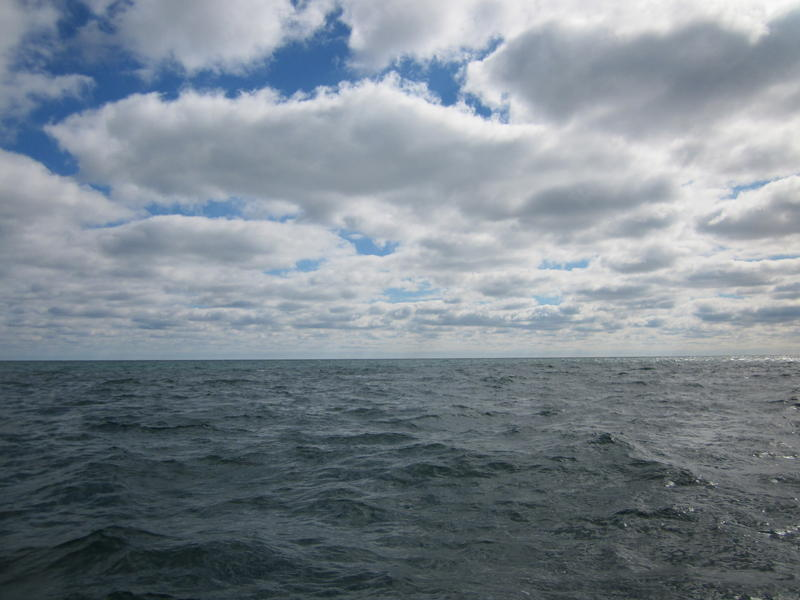 The view of Lake Michigan from Janssen's boat.