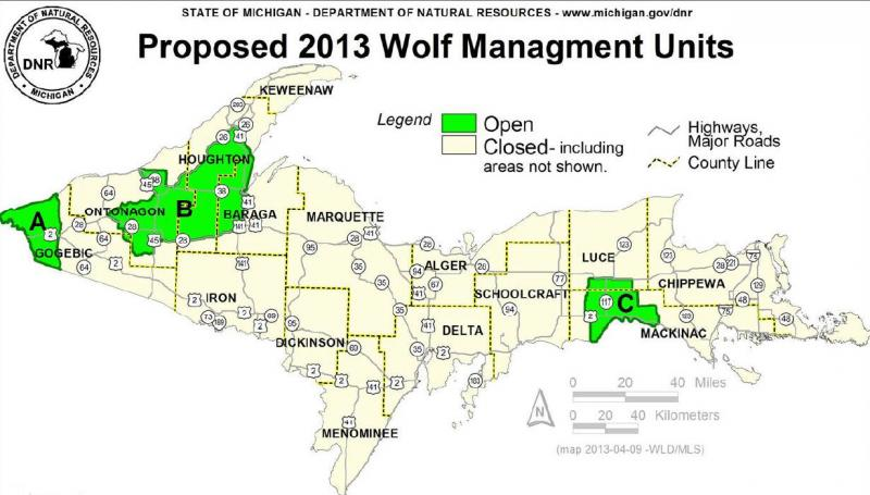 Wolf management units in Michigan's Upper Peninsula. Sixteen wolves are targeted in area A, 19 wolves in area B, and 8 wolves in area C