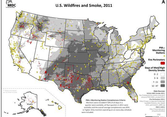 A map of the spread of smoke from wildfires in 2011