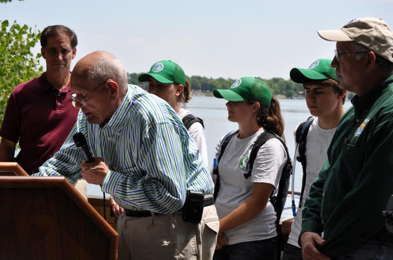 U.S. Rep. John Dingell (D-MI 12th District), with Youth Conservation Corps members at an event at the Detroit River International Wildlife Refuge in 2011.