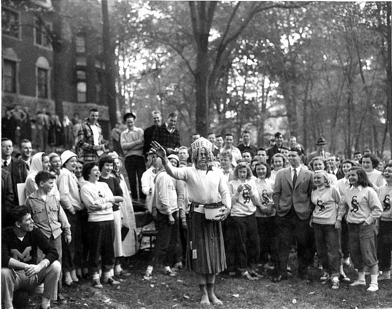 """A picture from the 1946 Mudbowl game. In the center is the """"Queen"""" of the bowl."""