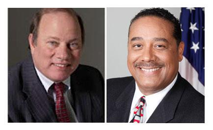 Mike Duggan, former president and CEO of the Detroit Medical Center (left) and Benny Napolean, Wayne County Sheriff and former Chief of Detroit's police force are candidates for Detroit mayor.