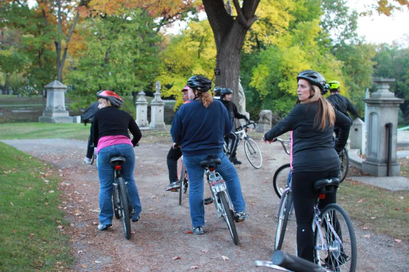 Riders on a tour of Elmwood Cemetery.