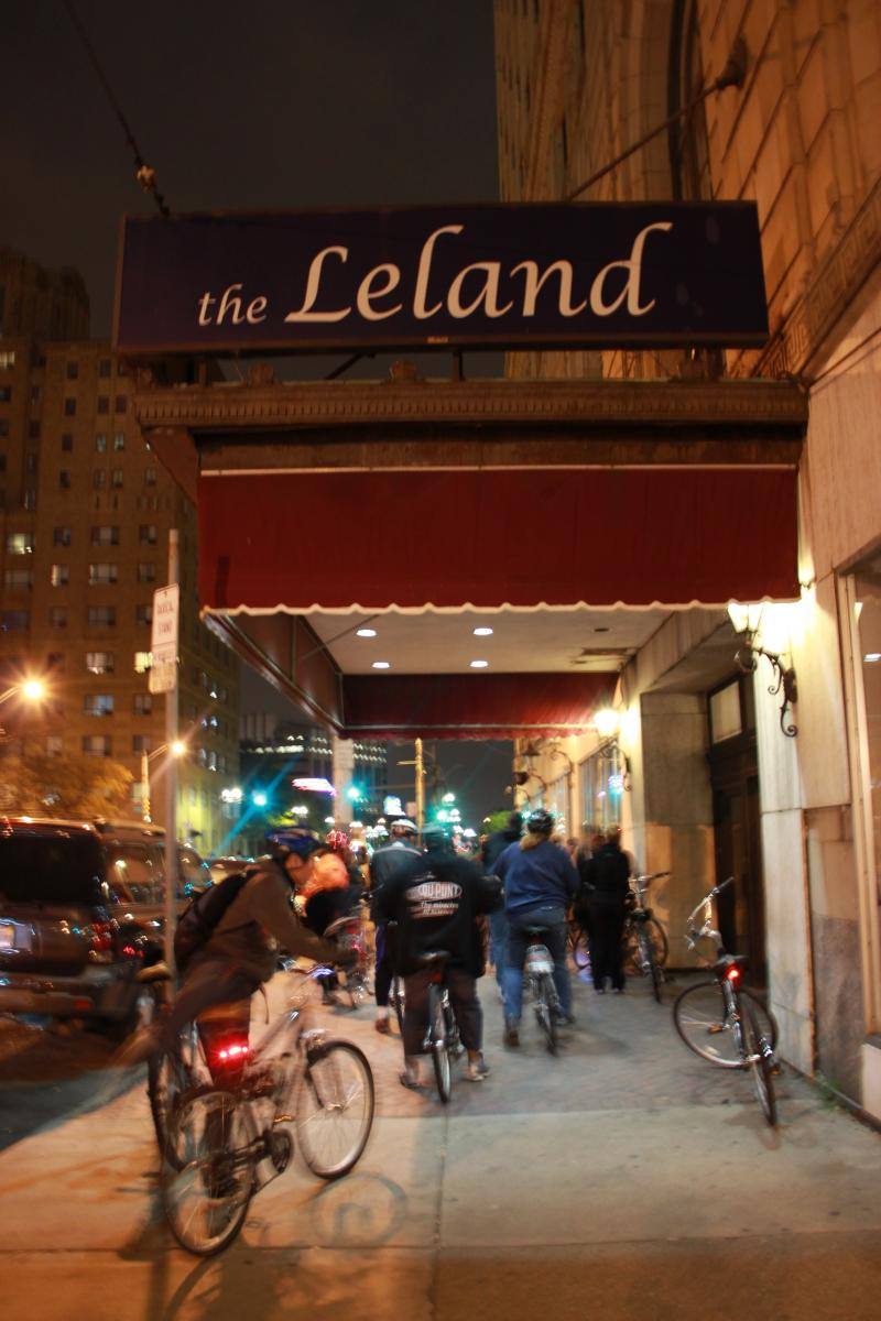 Outside the Leland Hotel.